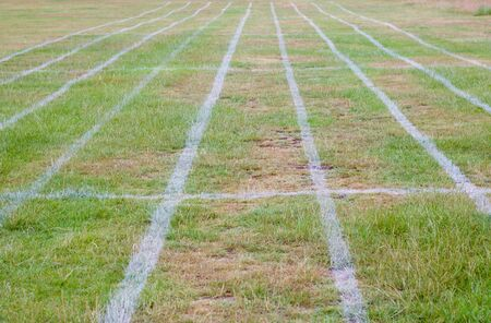 Field marked out with parallel running lanes for athletics events