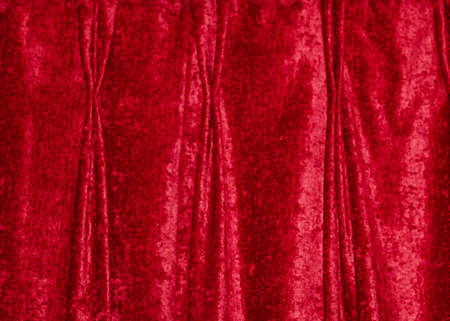 Beautifulsoft red velvet curtain background with pinch pleats and copy space