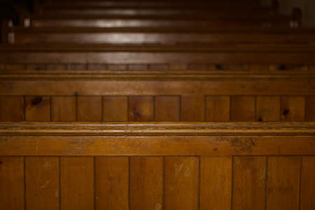 Old church pew background with ad space