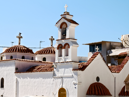 the orthodox church: Orthodox Church Ierapetra. Orthodox Church made of whitestone in Ierapetra on Crete, Greece. Stock Photo