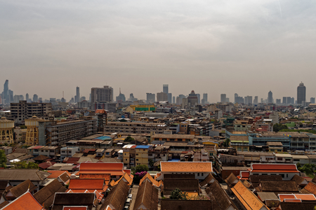 modernity: bangkok, skyline, roof tops, city of angles, cityscape, thailand, asia, city, metropolis, golden mountain, Birda ? ?, � ? ? ? ? s eye view, thai city, buildings, skyscrapers, modernity, smog, decay, abandoned buildings, sky, wat saket