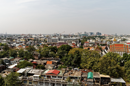 bird s eye: Roofs of Bangkok. A view of the roof and the skyline of Bangkok from the Golden Mountain.