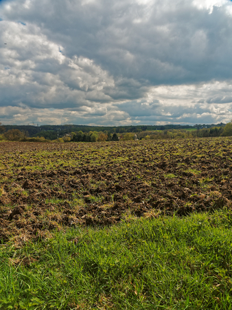 sowing: A freshly plowed field a few days before sowing.