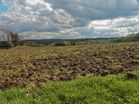 siembra: Un campo alemán unos pocos días antes de la siembra. Foto de archivo