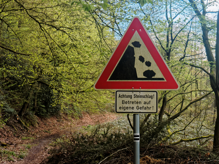 Danger of rock fall at a hiking path in Germany.