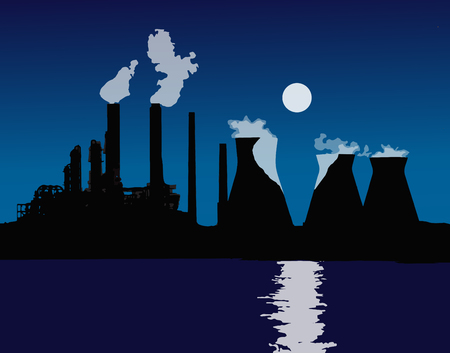 poison: Sunset or sunrise over the city. The orange light. Pipe smoke. Nuclear power plant, heating plant. Vector.