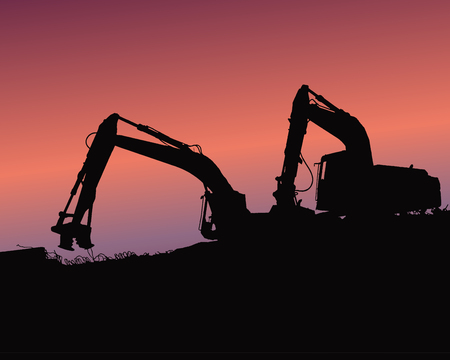 Excavator loaders, tractors and workers digging at an industrial construction site vector background illustration Illustration