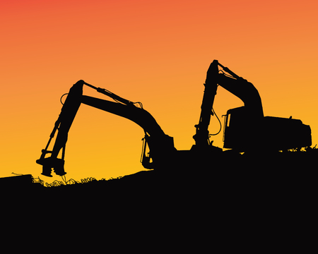 Excavator loaders, tractors and workers digging at industrial construction site vector background illustration Illustration