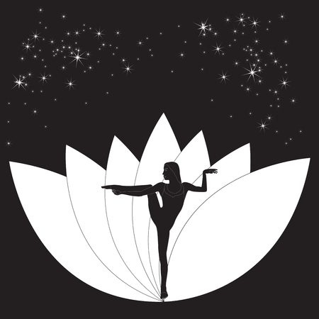 aerobics class: Silhouette young woman practicing yoga. Girl pilates. Vector on abstract background