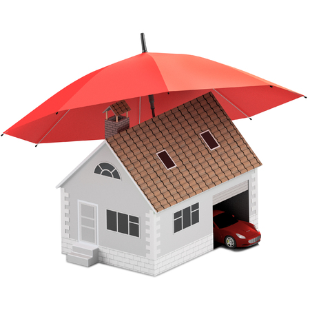 Insurance home, house, life, car protection. Buying house and car for family icon. Protect people Concepts. 3D illustration. Icon for the web site of the bank. House and car under red umbrella.
