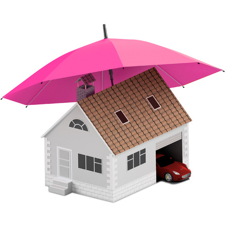 Insurance home, house, life, car protection. Buying house and car for family icon. Protect people Concepts. 3D illustration. Icon for the web site of the bank. House and car under magenta umbrella. Stock Photo