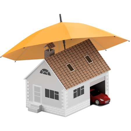 Insurance home, house, life, car protection. Buying house and car for family icon. Protect people Concepts. 3D illustration. Icon for the web site of the bank. House and car under orange umbrella.