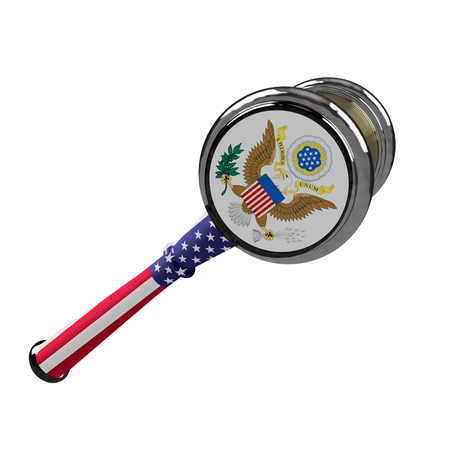 Judge hammer, flag and united kingdom emblem. 3d illustration. Isolated on white background. Stock Photo