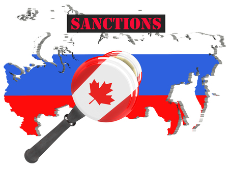 authority: Map of Russia. Canada sanctions against Russia. Judge hammer Canada, flag and emblem. 3d illustration. Isolated on white background.