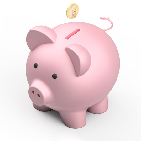 savings account: Pink piggy bank isolated on white background, 3d render illustration
