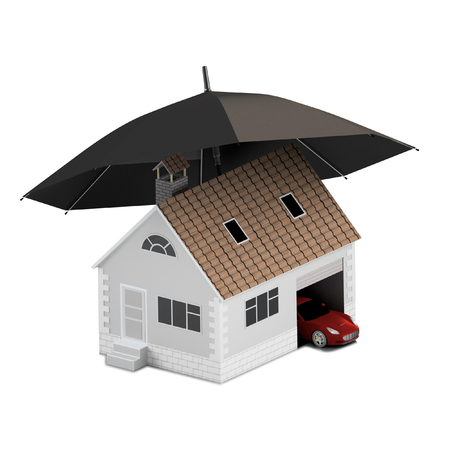 Insurance home, house, life, car protection. Buying house and car for family icon. Protect people Concepts. 3D illustration. Icon for the web site of the bank. Red car under blue umbrella.