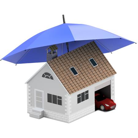 Insurance home, house, life, car protection. Buying house and car for family icon. Protect people Concepts. 3D illustration. Icon for the web site of the bank. House and car under blue umbrella. Stock Photo