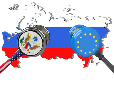 Judge hammer, European Union and United States of America sanctions against Russia, flag and emblem. 3d illustration. Isolated on white background. Stock Photo