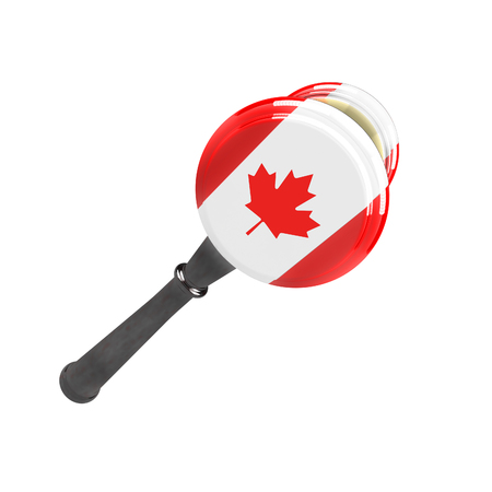 Canada sanctions against Russia. Judge hammer Canada, flag and emblem. 3d illustration. Isolated on white background.