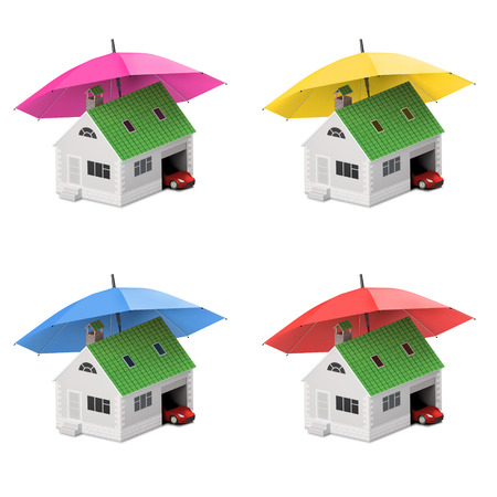 Insurance home, house, life, car protection. Buying house and car for family icon. Protect people Concepts. 3D illustration. Icon for the web site of the bank. House and car under umbrella. Stock Photo