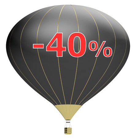 red balloons: Sale poster concept with percent discount.3d illustration banner with air balloon. Design for banner, flyer and brochure for event promotion business or department store. Isolated on white background