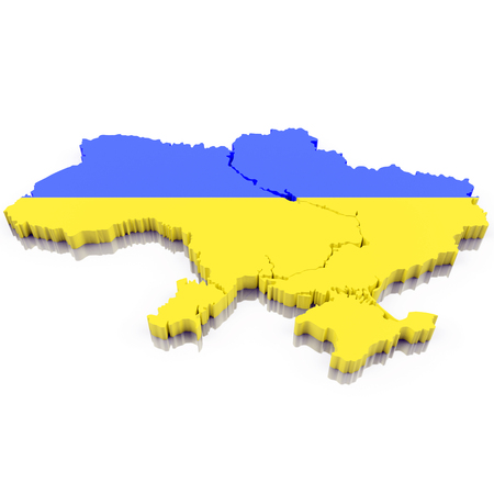 3D Map of Ukraine with flag colors. 3d illustration, isolated on white