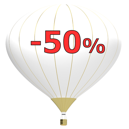 Sale poster concept with percent discount.3d illustration banner with air balloon. Design for banner, flyer and brochure for event promotion business or department store. Isolated on white background