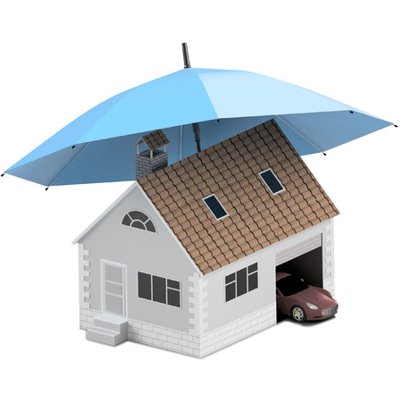 Insurance home, house, life, car protection. Buying house and car for family icon. Protect people Concepts. 3D illustration. Icon for the web site of the bank. Sport car under blue umbrella.