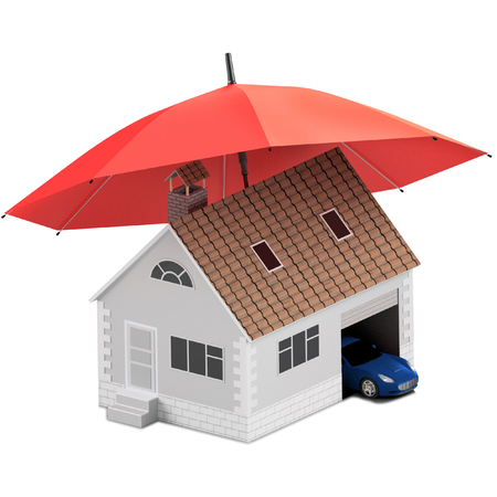 Buying house and car for family icon. Protect people Concepts. 3D illustration.