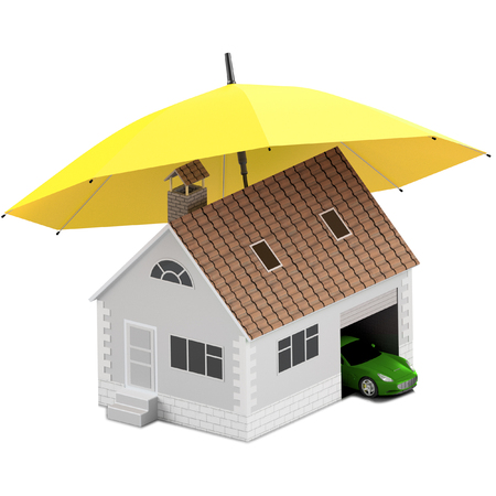 Insurance home, house, life, car protection. Buying house and car for family icon. Protect people Concepts. 3D illustration. Icon for the web site of the bank. House and car under yellow umbrella. Stock Photo