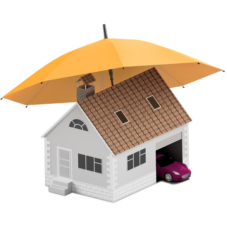 Insurance home, house, life, car protection. Buying house and car for family icon. Protect people Concepts. 3D illustration. Icon for the web site of the bank. Sport car under orange umbrella.