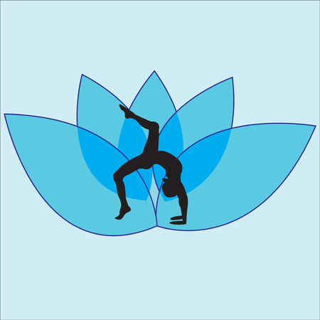 Silhouette young woman practicing yoga. Girl pilates. Vector on abstract background.