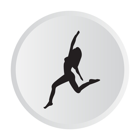 Silhouette of a woman practicing yoga. 일러스트