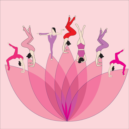 Silhouette young woman practicing yoga. Girl pilates. Vector on abstract background Foto de archivo - 92223375