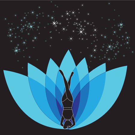 Silhouette young woman practicing yoga. Girl pilates with flower. Vector on abstract background