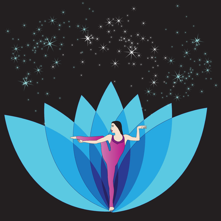 Silhouette of young woman practicing yoga.
