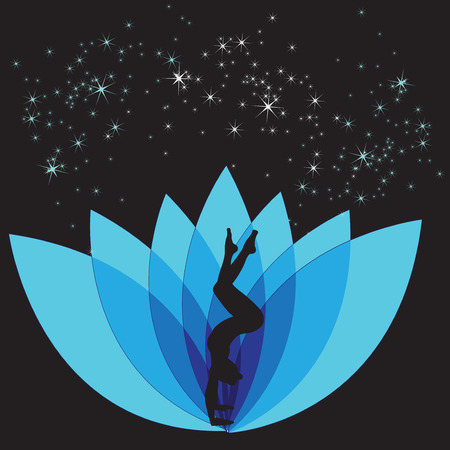 Silhouette young woman practicing yoga. Illustration