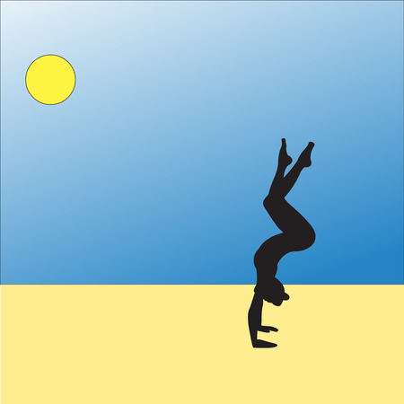 Silhouette young woman practicing yoga. Girl pilates. Vector on abstract background