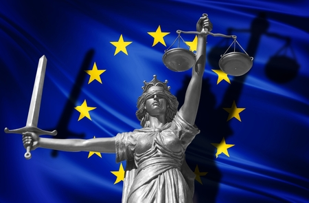 Cover about Law. Statue of god of justice Themis with Flag of European Union background. Original Statue of Justice. Femida, with scale, symbol of justice with EU flag 3d rendering.