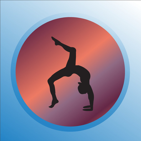 Silhouette young woman practicing yoga. Girl pilates vector on abstract background. Foto de archivo - 95578564