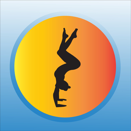 Silhouette young woman practicing yoga. Girl pilates. Vector on abstract background Zdjęcie Seryjne - 95340600