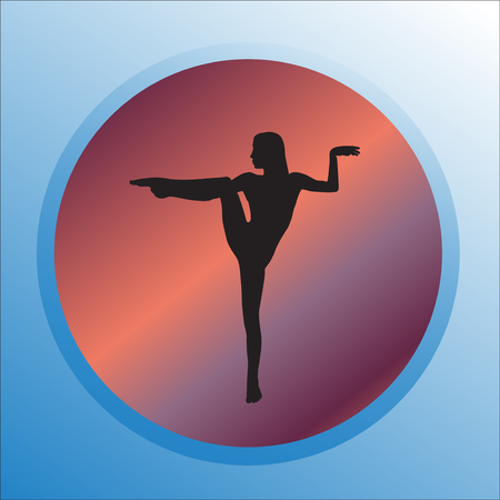 Silhouette young woman practicing yoga or pilates