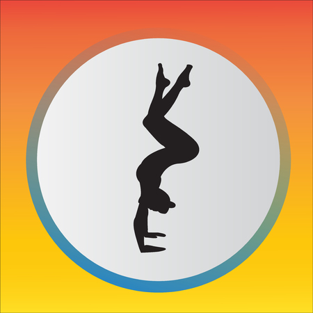 Silhouette young woman practicing yoga. Girl Pilates Vector on abstract background Ilustracja