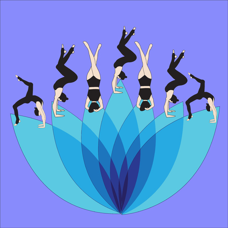 Silhouette young woman practicing yoga. Girl Pilates Vector on abstract background Illustration