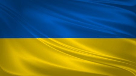 Ukraine flag blowing in the wind. Background texture. 3d rendering, wave.