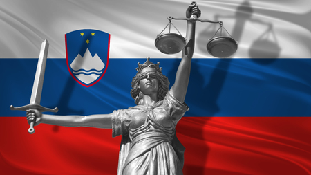 Cover about Law. Statue of god of justice Themis with Flag of Slovenia background. Original Statue of Justice. Femida, with scale, symbol of justice with waving Slovenia flag, 3d rendering.