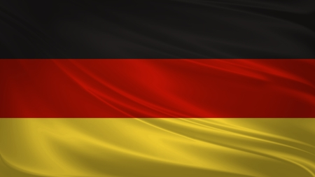Germany flag blowing in the wind. Background texture. 3d rendering, waving flag.