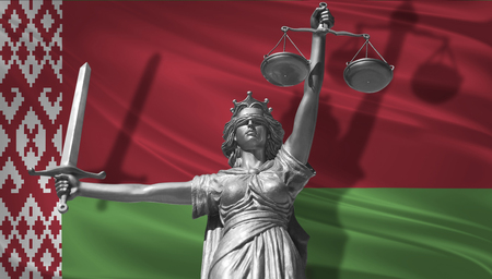 Cover about Law. Statue of god of justice Themis with Flag of Belarus background. Original Statue of Justice. Femida, with scale, symbol of justice with Belgium flag,3d rendering.