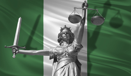 Cover about Law. Statue of god of justice Themis with Flag of Nigeria background. Original Statue of Justice. Femida, with scale, symbol of justice with Nigeria flag, 3d rendering.