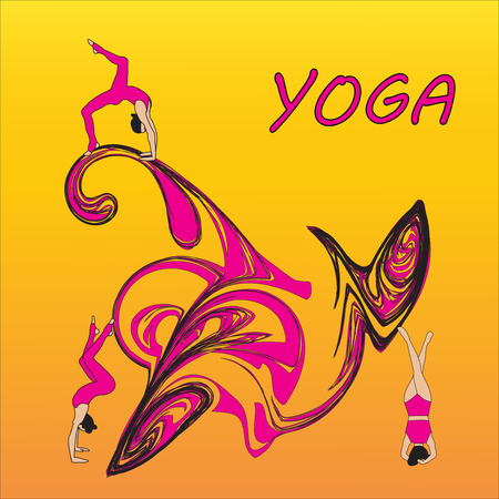 Silhouette young woman practicing yoga. Girl pilates. Vector on abstract background icon Zdjęcie Seryjne - 99663078